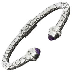 Charles Krypell Amethyst and Diamond Silver and Gold Python Cuff Bracelet