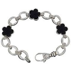 Lagos Black Onyx Caviar Flower Love Me Sterling Silver Link Bracelet