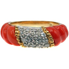 Carved Coral Diamond Gold Band