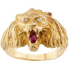 Lion Head Gold Diamond Ruby Ring