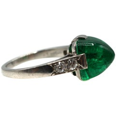 Rare Edwardian No-Oil Colombian Sugar-Loaf Cabochon Emerald Platinum Ring