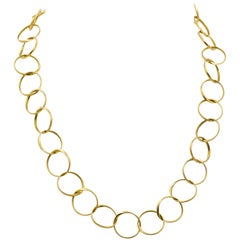 18 Karat Yellow Gold Circle Link Chain