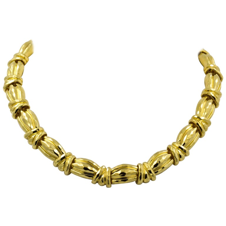 Henry Dunay Triple Domed Link Yellow Gold Chain Necklace