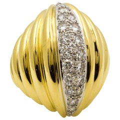 Classic Bold 18 Karat Yellow Gold Dome Diamond Ring