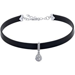 0.80 Diamond Pendant Leather Choker Necklace