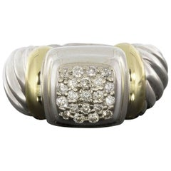 David Yurman Pave Diamond Silver and Gold Cable Ring