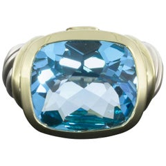 David Yurman Cushion Blue Topaz Noblesse Silver and Gold Bezel Ring
