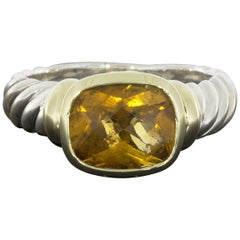 David Yurman Cushion Citrine Noblesse Bezel Silver and Gold Ring