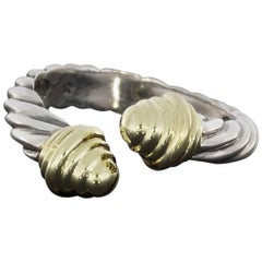 David Yurman Classic Cable Bypass Silver and Gold Ring