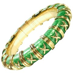 Tiffany & Co. Schlumberger Croisillon Gold Green Enamel Bracelet