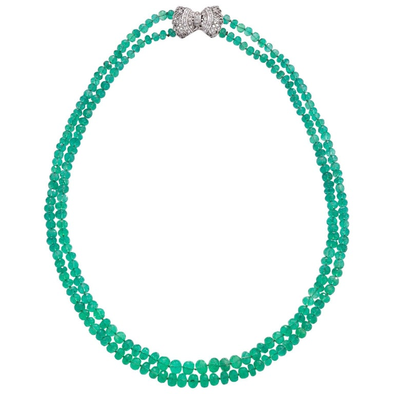 Faceted Double Strand Emerald Bead Necklace