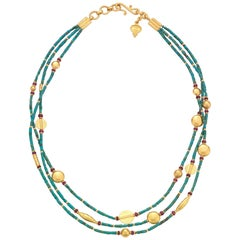Turquoise, Ruby and Gold Necklace