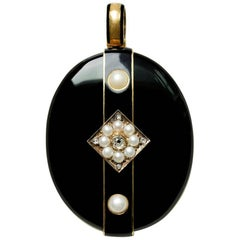 Late Victorian Gold Diamond Pearl Black Enamel Locket