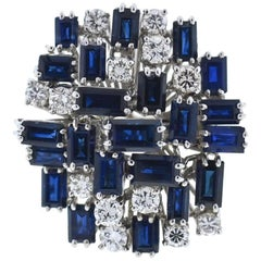 18 Karat White Gold Sapphire and Diamond Ladies Cocktail Ring