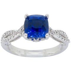 GIA Certified Natural Blue Sapphire and Diamond Engagement Ring