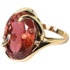 13.82 Carat Peachy Red Tourmaline Gold Cocktail Ring
