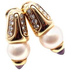 Bulgari Diamond Amethyst Cultured Pearl Earrings