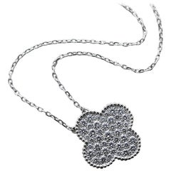 18 Karat White Gold Van Cleef & Arpels Alhambra Diamond Pendant