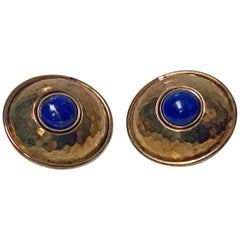 Pair of Walter Schluep 18 Karat Lapis Earrings, circa 2000