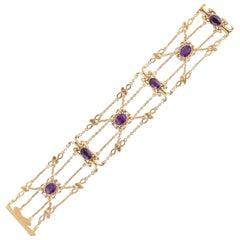 Art Nouveau 14 Karat Amethyst Bracelet