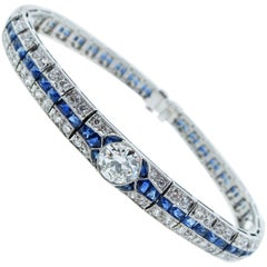 French Cut Art Deco Sapphire and Diamond Bracelet, circa 1925
