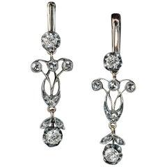 Antique Edwardian Diamond Silver Gold Dangle Earrings