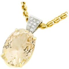 32 Carat Natural Topaz and Diamond Set Gold Pendant GIA