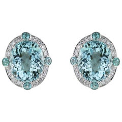 GIA Certified 13.89 Carat Paraiba Tourmaline Earrings