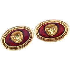 Elizabeth Gage Lion Red Enamel Yellow Gold Cufflinks