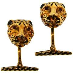 David Webb Enamel Yellow Gold Panther Cufflinks