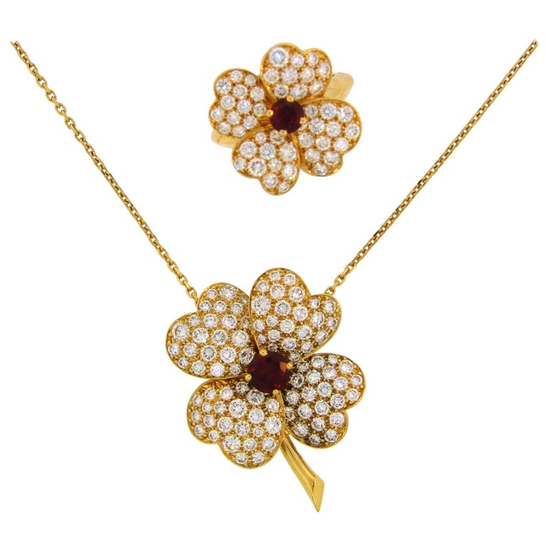 Van Cleef & Arpels Cosmos Diamond Ruby Yellow Gold Clip Pendant Pin and Ring Set