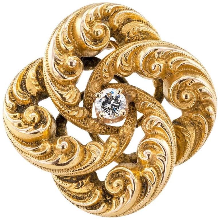 Victorian 1890s Quatrefoil Diamond Gold Brooch Pendant