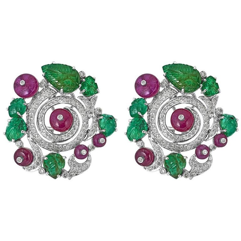 Diamond, Ruby and Emerald Earrings