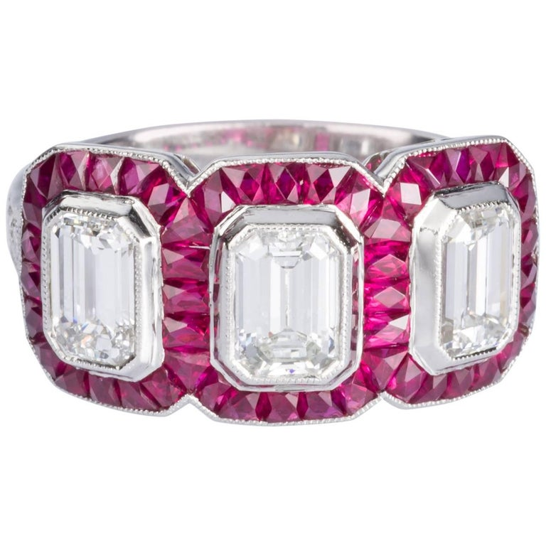 1.95 carat Emerald Cut Diamond and Ruby Platinum Engagement Ring For Sale
