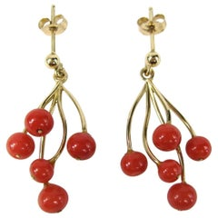 Stunning Red Coral Gold Free-Form Branch Earrings