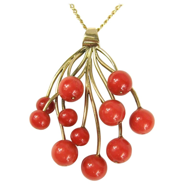Stunning Free-Form Red Coral Gold Necklace Pendant For Sale