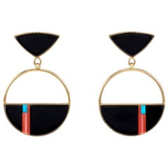 Richard Chavez Black Jade Red Pink Coral Turquoise Gold Earrings