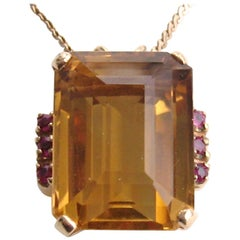 Golden Citrine Ruby Gold Pendant Necklace