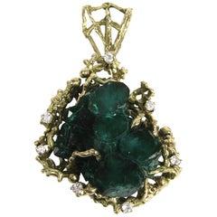 Massive 76.58 Carat Brutalist Chatham Emerald Diamond Gold Pendant
