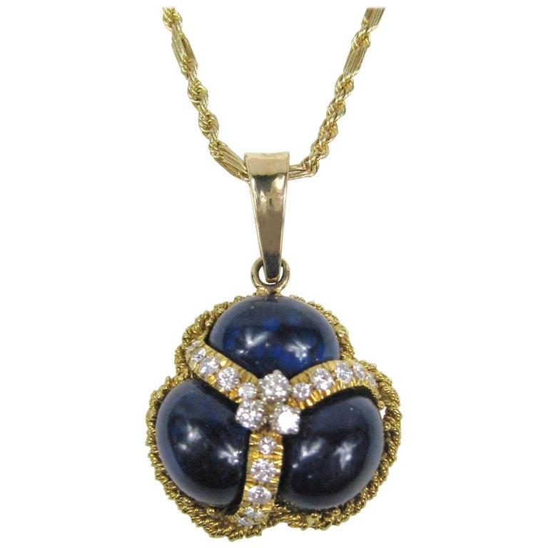 Lapis Lazuli Diamond Gold Pendant Necklace