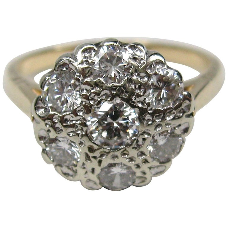 1940s diamond cluster 14 karat gold ring for sale at 1stdibs. Black Bedroom Furniture Sets. Home Design Ideas