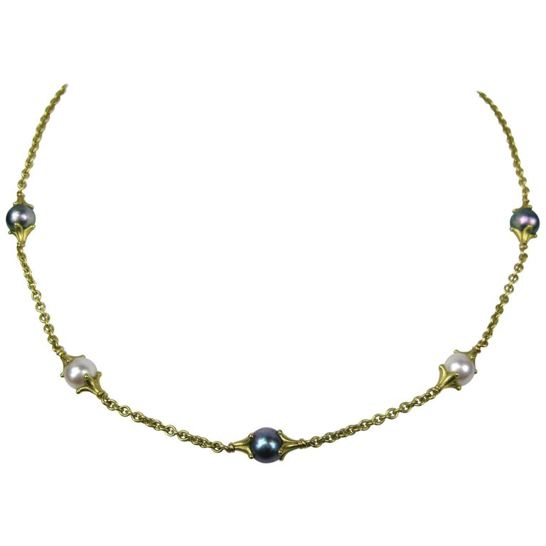 Paul Morelli Black and White Pearl Gold Necklace