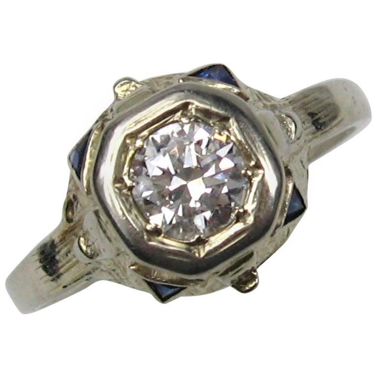 Antique Art Deco Diamond Gold Engagement Ring