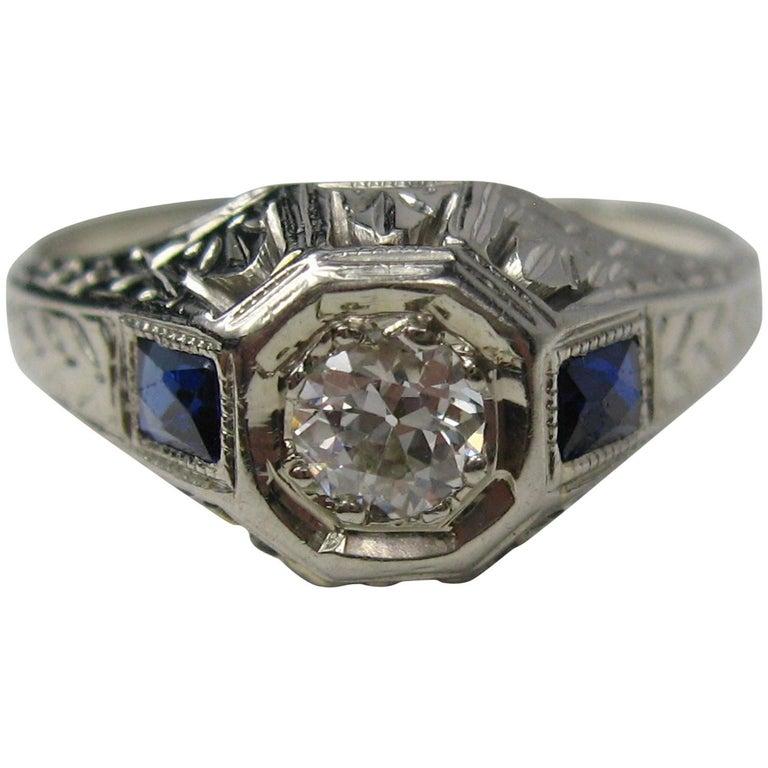 Diamond 14 Karat White Gold Ring 1920s Art Deco For Sale