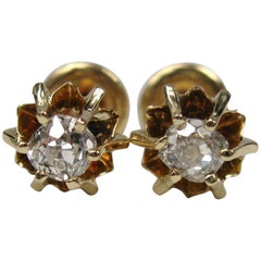 Mine Cut Diamond Gold Earring Studs, 1860s