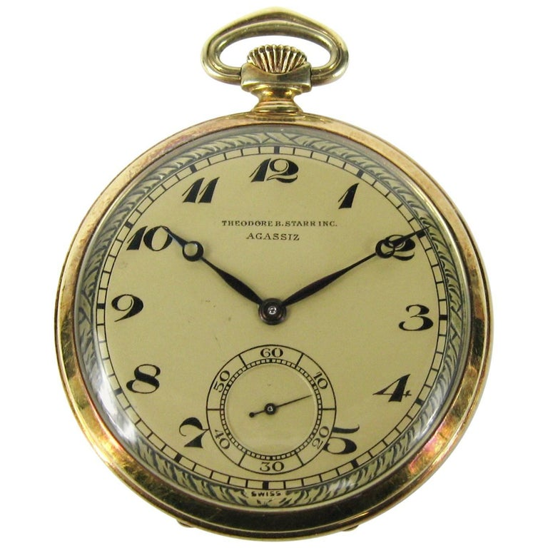 Agassiz Yellow Gold Open Face Pocket Watch
