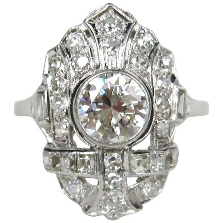 1920s Art Deco Filigree Diamond Platinum Ring 1.78 Carat