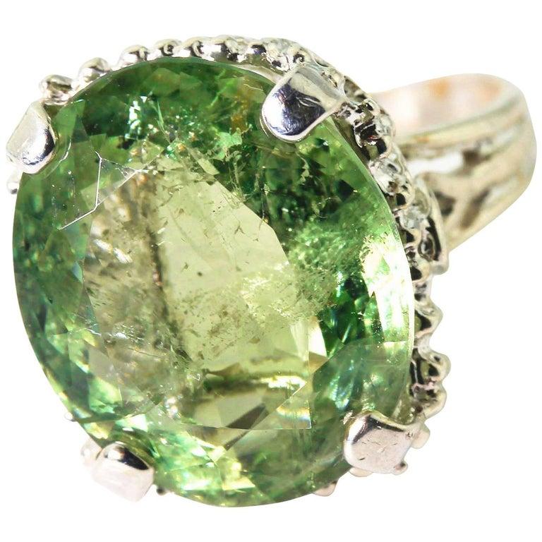 19 Carat Green Tourmaline Cocktail Ring