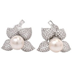 Estate South Sea Pearl Diamond Flower Large Stud Clip Earrings