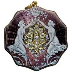 Belle Époque Antique Enamel Diamond Gold Locket Pendant